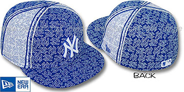 Yankees NY-'PJs FLOCKING PINWHEEL' Royal-White Fitted Hat by New Era