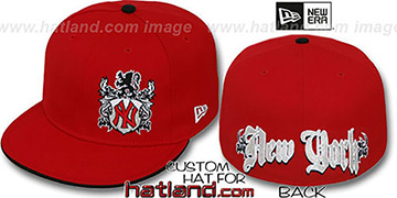 Yankees 'OLD ENGLISH SOUTHPAW' Red-Black Fitted Hat by New Era