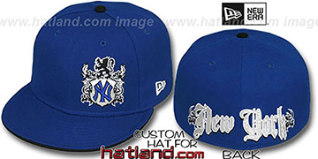 Yankees 'OLD ENGLISH SOUTHPAW' Royal-Black Fitted Hat by New Era
