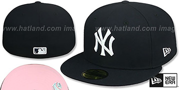 Yankees 'PINK-BOTTOM' Navy Fitted Hat by New Era