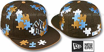 Yankees 'PUZZLE' Brown Fitted Hat by New Era