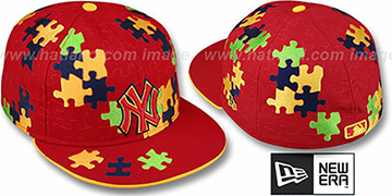 Yankees 'PUZZLE' Red Fitted Hat by New Era