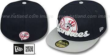 Yankees 'SCRIPT-PUNCH' Navy-Grey Fitted Hat by New Era