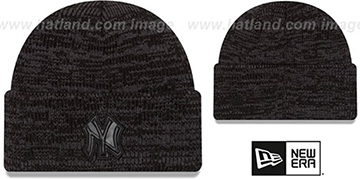 Yankees 'TONAL TRICK' Black-Grey Knit Beanie Hat by New Era