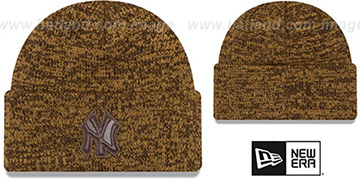 Yankees 'TONAL TRICK' Brown-Wheat Knit Beanie Hat by New Era