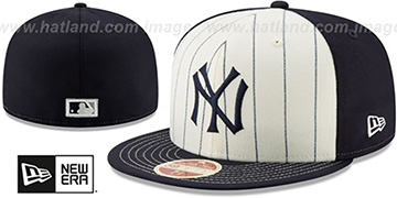 Yankees 'VINTAGE-STRIPE' White-Navy Fitted Hat by New Era
